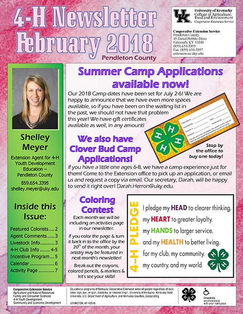 4-H February 2018 Newsletter, page 1