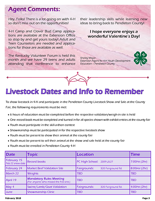 4-H February 2018 Newsletter, page 3