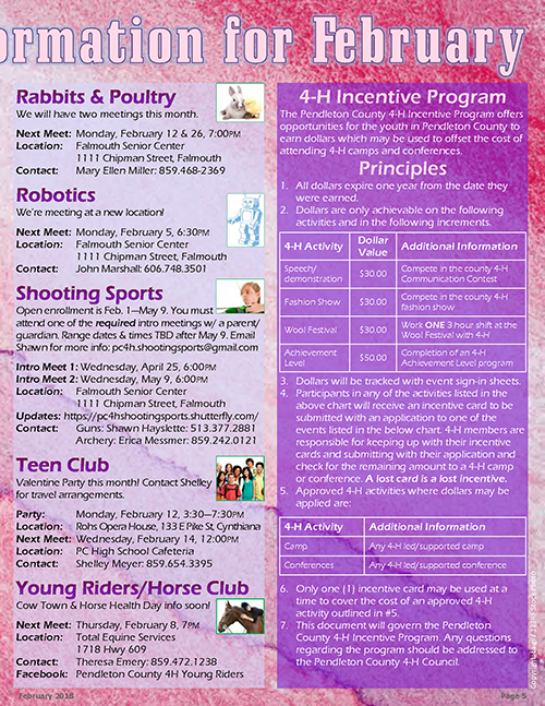 4-H February 2018 Newsletter, page 5