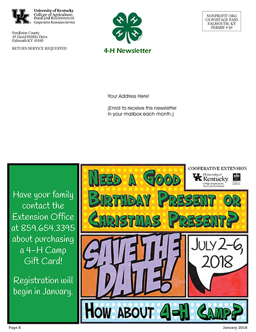 4-H February 2018 Newsletter, page 8