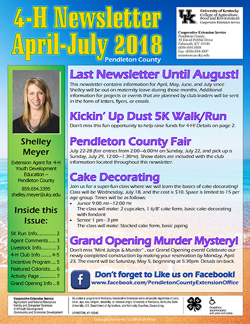 April 2018 4-H Newsletter, page 1
