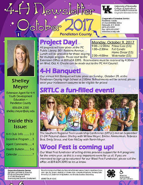 4-H Newsletter - October 2017, page 1